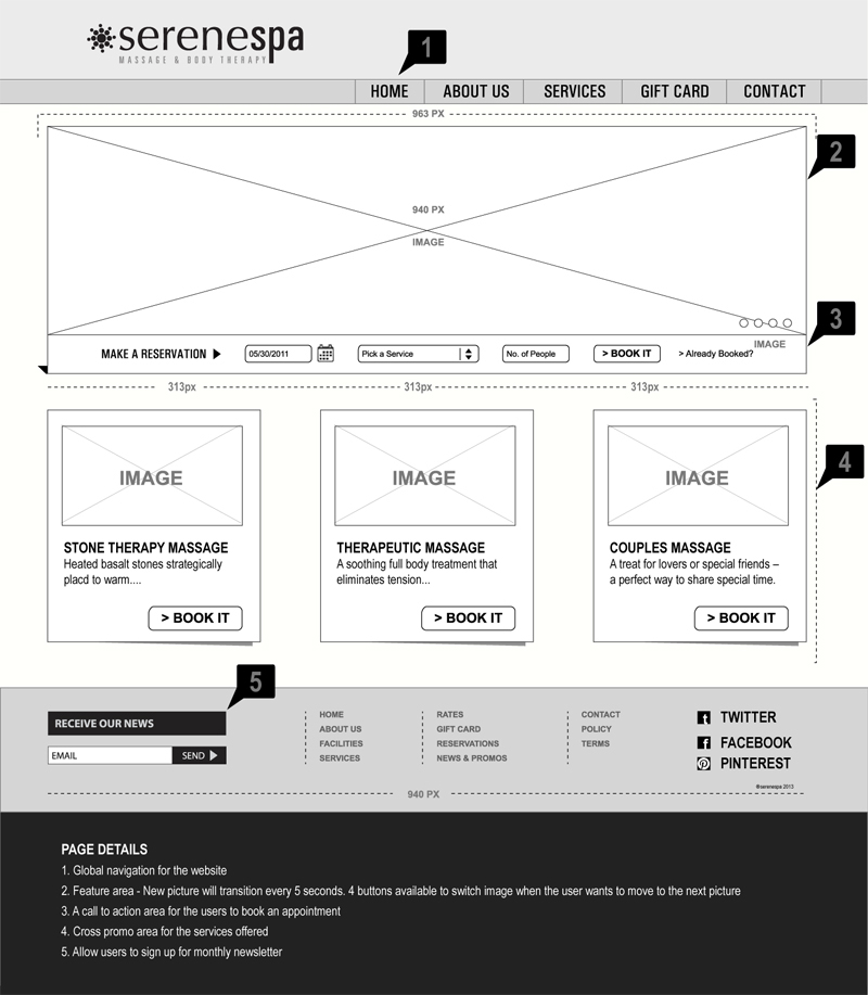 Wireframe Home Page