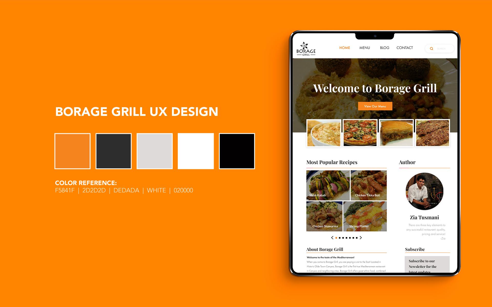Borage Grill UX Design Header